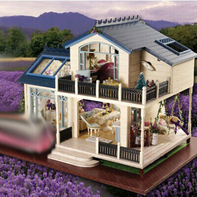 DIY Handcraft Miniature Project Dolls House My Provence Lavender Wooden Villa A+