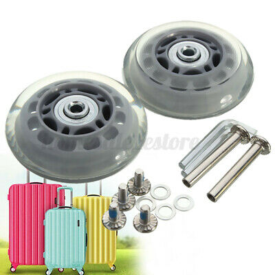 2X OD 70mm Baggage Luggage Suitcase Wheels Axles Replacement Deluxe Repair Gray