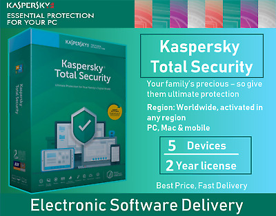 Kaspersky Total Security 2020 [5 Devices PC, 2 Years, Multi-device, Region free]