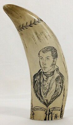Vtg Faux Scrimshaw Whale TOOTH The Ship Lawrence Commodore Oliver Hazard Perry