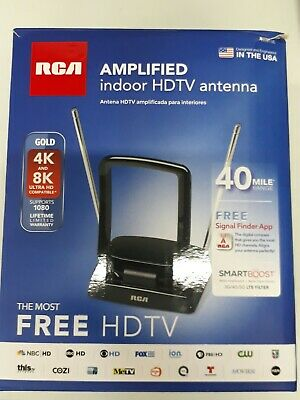 RCA ANT310Z Amplified Indoor FM and TV Antenna in Black