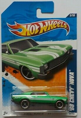 2011 Hot Wheels #82 Street Beast 2//10 /'68 CHEVY NOVA Green Variation w//Blk MC5Sp