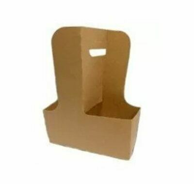 2-4 Cup Carrier Tray w/ Handle, Natural Kraft (250/Case)
