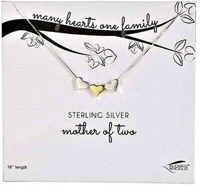Sterling Silver Mother of Two Necklace, Unique Gifts for Women, 18 Inch