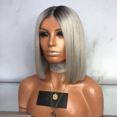 Womens Ladies Grey Ombre Short Straight Hair Wigs Bob Natural Cosplay Wig + Net