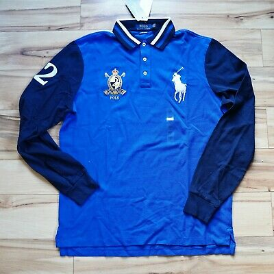 Men Polo Ralph Lauren BIG PONY Mesh Polo Shirt Long Sleeve - CUSTOM SLIM FIT