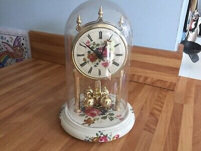 Fully Working German Made Dome Clock Battery Quartz Rotating Balls Ceramic Base