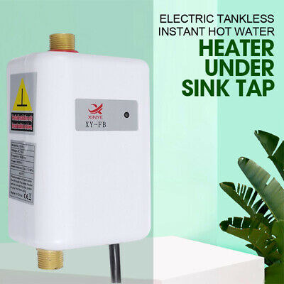 Temperature Electric Tankless Instant Hot Water Heater Bathroom Kitchen Home