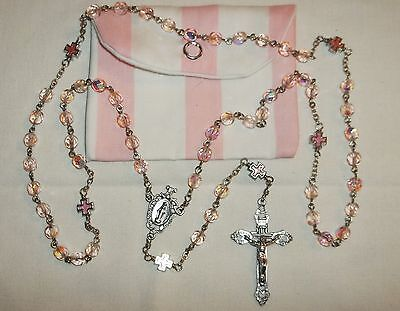 Pink 6mm glass rosary, 1st Communion Cathoilc Rosary, Cross rosary & pouch