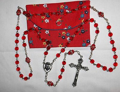 Red 6mm glass rosary, 1st Communion Cathoilc Rosary, Sacred Heart rosary & pouch