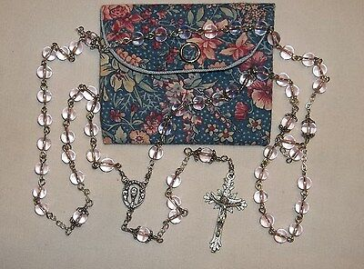 Rosary, Light Pink glass 6mm rosary, Girls first Communion, Rosary with pouch