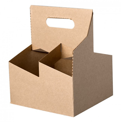 4 Cup Drink Carrier Tray w/ Handle, Natural Kraft (200/Case)