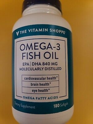 The Vitamin Shoppe, 180 Soft Gels OMEGA 3 Fish Oil, EPA/dha 840 mg exp 03/22