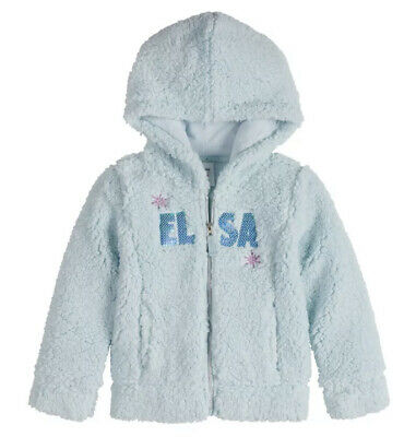 Disney Frozen Girls Snowflake Sherpa Pullover Sweatshirt Blue 9-10 New