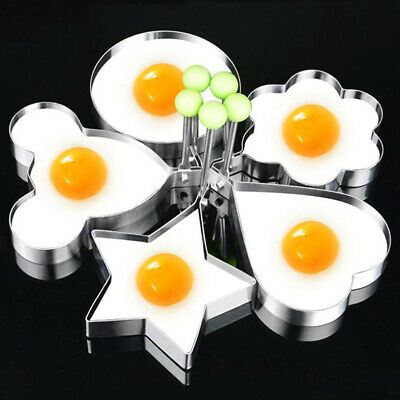5Pcs Fried Egg Non Stick Stainless Steel Pancake Ring Mold Cooking Kitchen y3