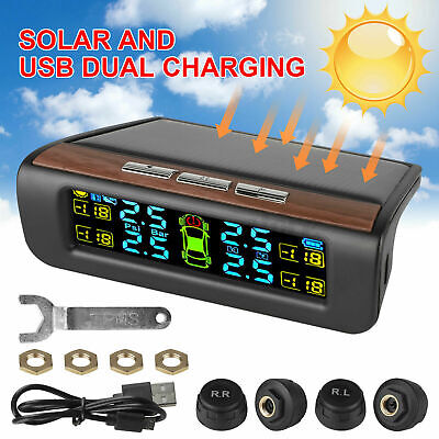 Car Tire Pressure Monitoring System LCD Solar Wireless TPMS + 4 External Sensors