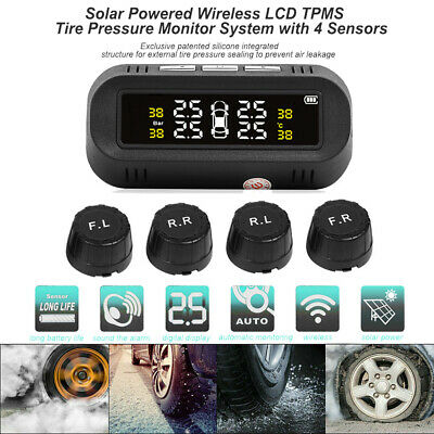 USB+Solar Wireless Car TPMS Tire Pressure Monitor System With 4 External Sensors