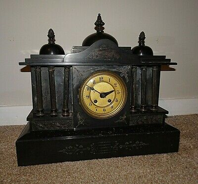 Antique 19th Century Architectural Slate Mantel Clock with Columns & Finials