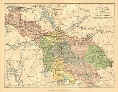 COUNTY CAVAN. Antique county map. Ulster. Ireland. BARTHOLOMEW c1902 old