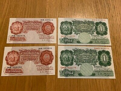 O'Brien OLD ENGLISH 10s Replacement Banknotes x2 EF/AU:Replacement £1x2 - AU/UNC