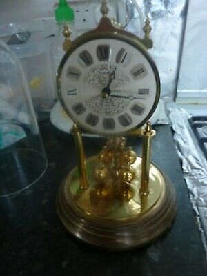 Vintage Anniversary Kundo Glass Dome Mantle Clock Working Battery