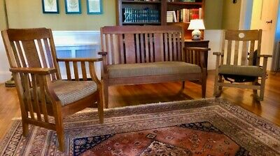 Antique Oak Mission/Arts & Crafts Settle/Sofa & Armchair Set--w/FREE Rocker!