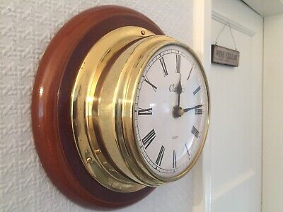 Vintage Classic Marine Nautical Brass / Wood Ships Wall Clock Quartz Battery