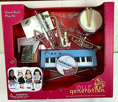 "Our Generation School Band 15 Piece Play Set for 18/"" Fits American Girl Rare Blu"