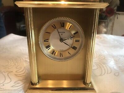 Vintage Swiza Swiss Brass Carriage Clock - Not Working (Spares/Repair)