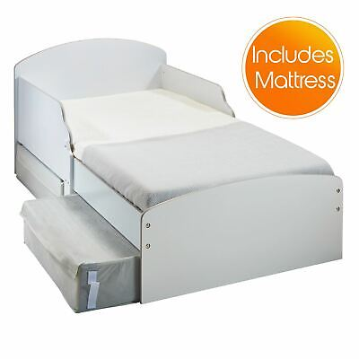 White Toddler Bed With Storage Drawers And Side Panels + Sprung Mattress