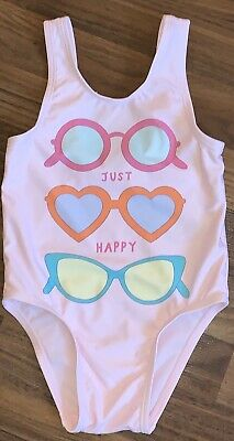NWT OLD NAVY GIRLS SIZE 2T ONE PIECE SWIMSUIT SUNGLASSES JUST HAPPY PINK heart