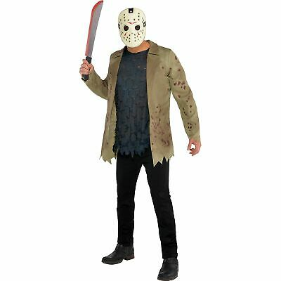 Mens Jason Voorhees Costume Standard Size Friday the 13th Jacket Shirt Mask