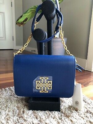 Tory Burch Britten Combo Pebbled Leather Crossbody Bag Navy New