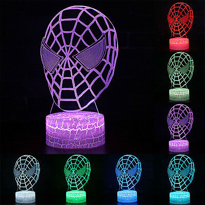 Spider-Man 3D LED 7 Colour Night Light With Colors Changing Desk Table Lamp Kid