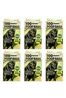 6 x 100 NEW & IMPROVED Premium EXTRA STRONG DOGGY BAGS, Scented with Tie handles