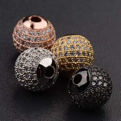 DIY 3A Zircon Gemstones Pave Round Ball Bracelet Connector Charm Fitting Beads