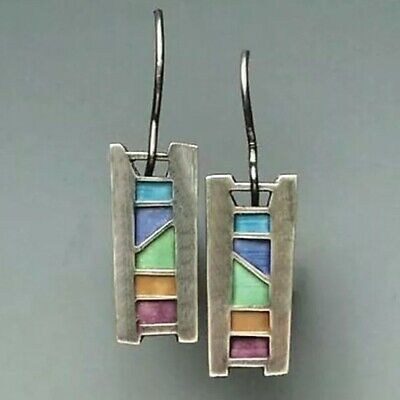 Abstract Stained Glass Window Mosaic Style Drop Dangle Earrings Tonal Teal Blue