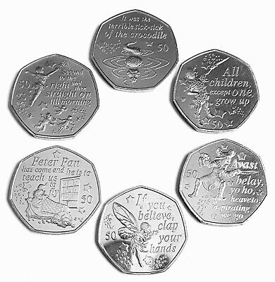 2019 Peter Pan 50p Coin Full Set Of Six New Uncirculated From Sealed Bags