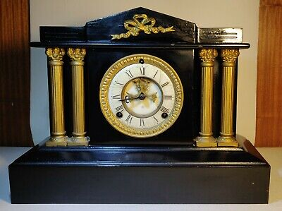 Ansonia Mantle Clock, Iron, Front Escapement. New York USA. Antique 1900s Weight
