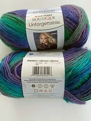 """Set Of 3/"""" /""""Red Heart Boutique Unforgettable Yarn-Dragonfly"""