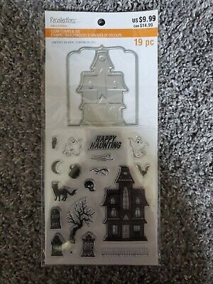 Recollections Halloween Haunted House Clear Stamp Die Set Tree Grave Cat Ghost
