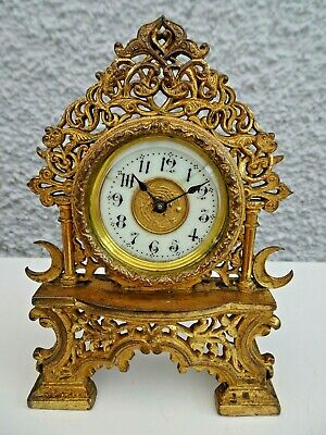 Antique 19th Century Ansonia Ornate Shaped Brass Mantel Clock with Enamel Face