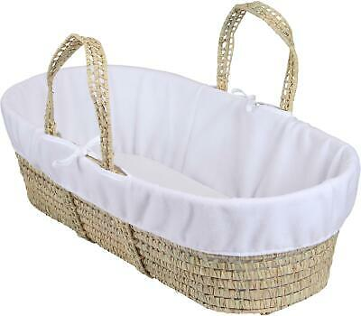 Clair De Lune MOSES BASKET FLEECE LINER DRESSING WHITE Baby Nursery - NEW