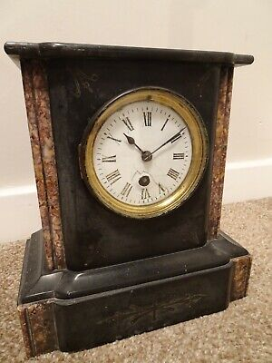 Antique 19th C French Engraved Slate & Marble Mantel Clock with Key & Pendulum