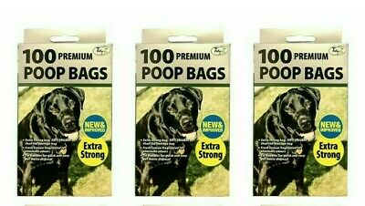 3 x 100 NEW & IMPROVED Premium EXTRA STRONG DOGGY BAGS, Scented With Tie handles