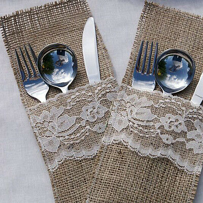 4/10pcs Hessian Burlap Lace Bags Wedding Cutlery Holder Pouch Table Decoration
