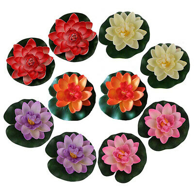 2 pc Artificial Fake Lotus Water lily Garden Pool Plant Floating Flower T2E6