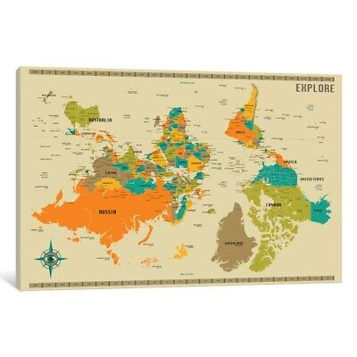 iCanvas 'Upside Down New World Map' by Jazzberry Blue Canvas