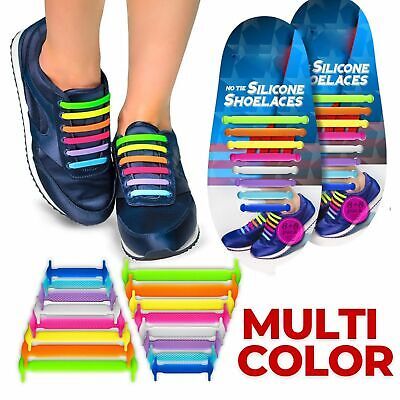 Lazy No Tie Easy Elastic Silicone Shoe Laces For Adults Kids Trainers Shoes UK