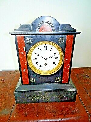 Antique French 19th Century Engraved Slate & Red Marble Trim Mantel Clock (Time)
